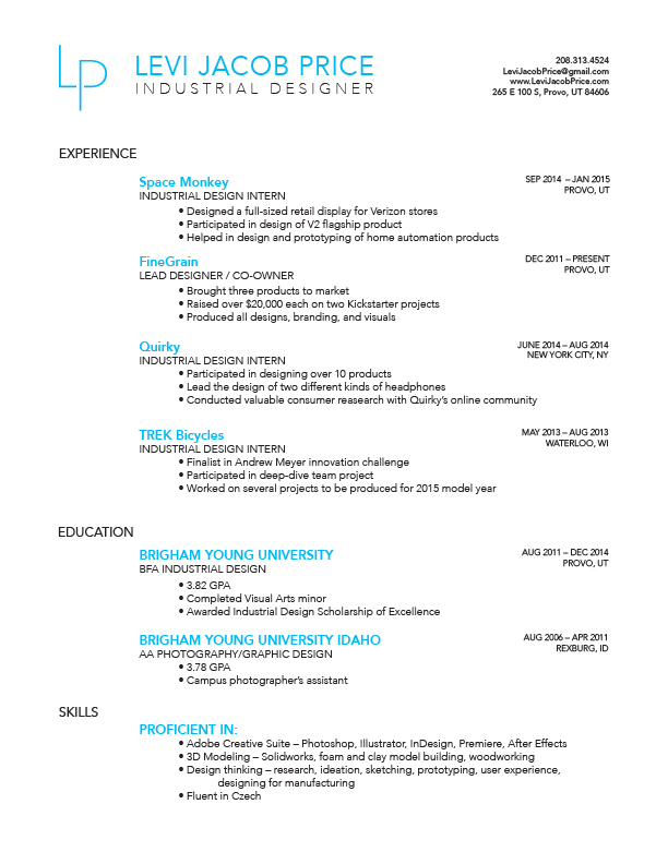 Levi Jacob Price Resume