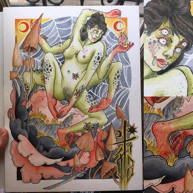 Happy #Halloween! Revenge of #Tsuchigumo #japanesemythology #mythology #watercolor #watercolour #tattoodesign #tattoos #monsterarttattoo