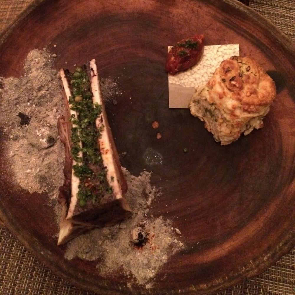 Smoked bone marrow w/scallion biscuit, bacon jam& ember