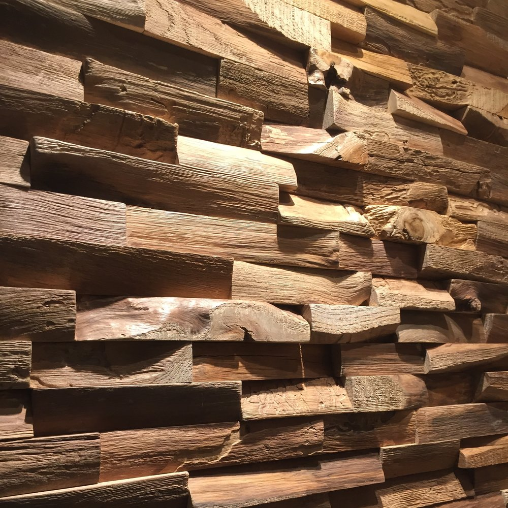 RECYCLED TEAK WOOD WALL PANELS - the waste from Rough cut pieces of Teak logs reclaimed and made into beautiful relief wall panels - the natural beauty of raw teak.