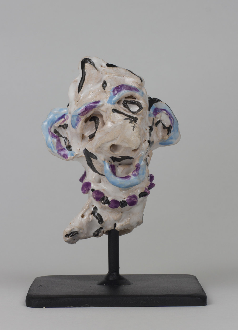 "Sally , 2017, ceramic and steel, 5""h x 4""w x 4""w"