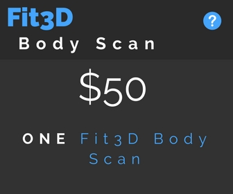 Scan and see your body in 3D (like Avatar). The Fit3D body scan only takes 2 minutes to show you exactly how your body is changing on the outside.  Track how your diet and fitness plan affects your body comp (plus order custom clothes from your measurements if you want!).