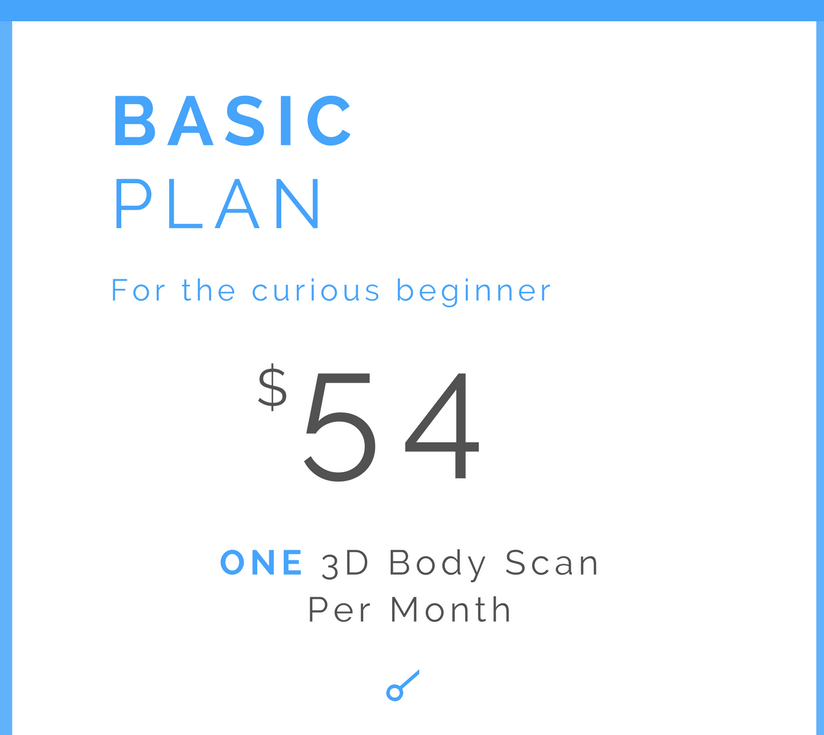 Monthly 3D Body Scan      Online dashboard for analysis