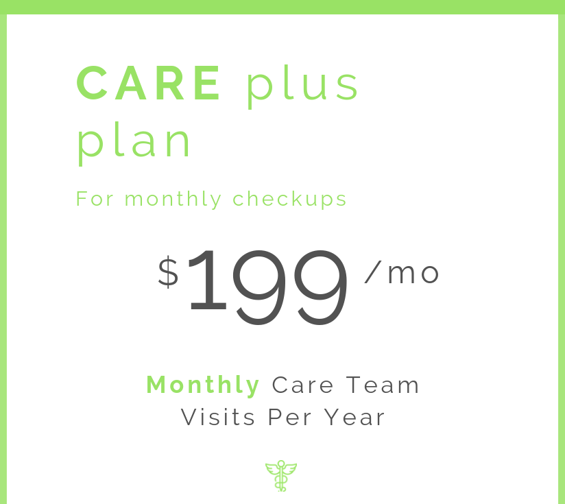 Annual comprehensive baseline visit  Monthly checkin visits with your Care Team  Personalized treatment and wellness plans  Discounted pricing on additional testing kits