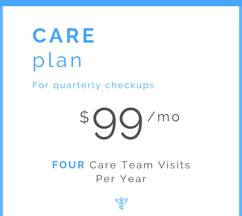 Annual comprehensive baseline visit  Quarterly checkin visits with your Care Team  Personalized treatment and wellness plans  Discounted pricing on additional testing kits