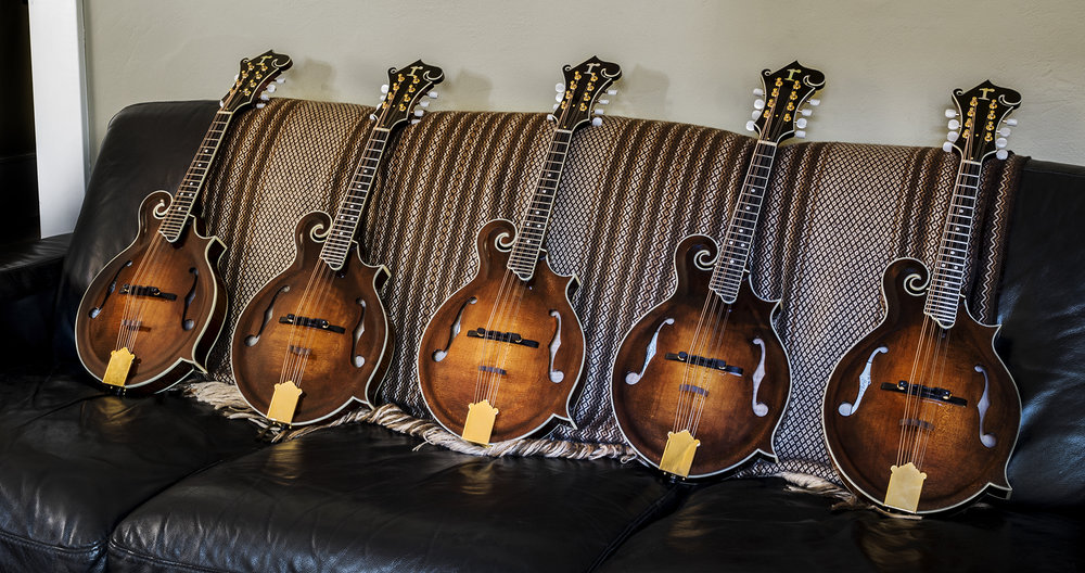 Matt Ruhland's latest batch of F5 mandolins.