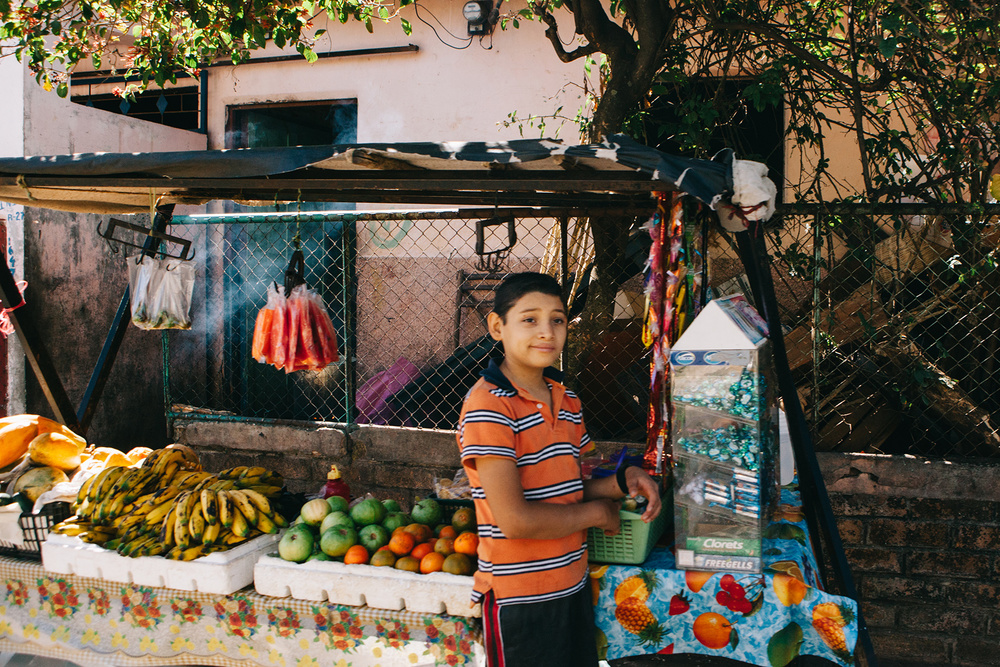 Streetside produce stand, El Salvador