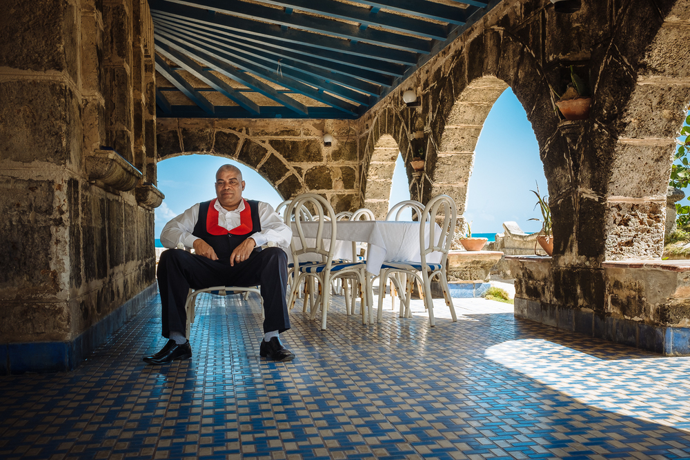 A portrait of a Casa de Al waiter. Which used to supposedly be Al Capone's house in Varadero, Cuba 2015.