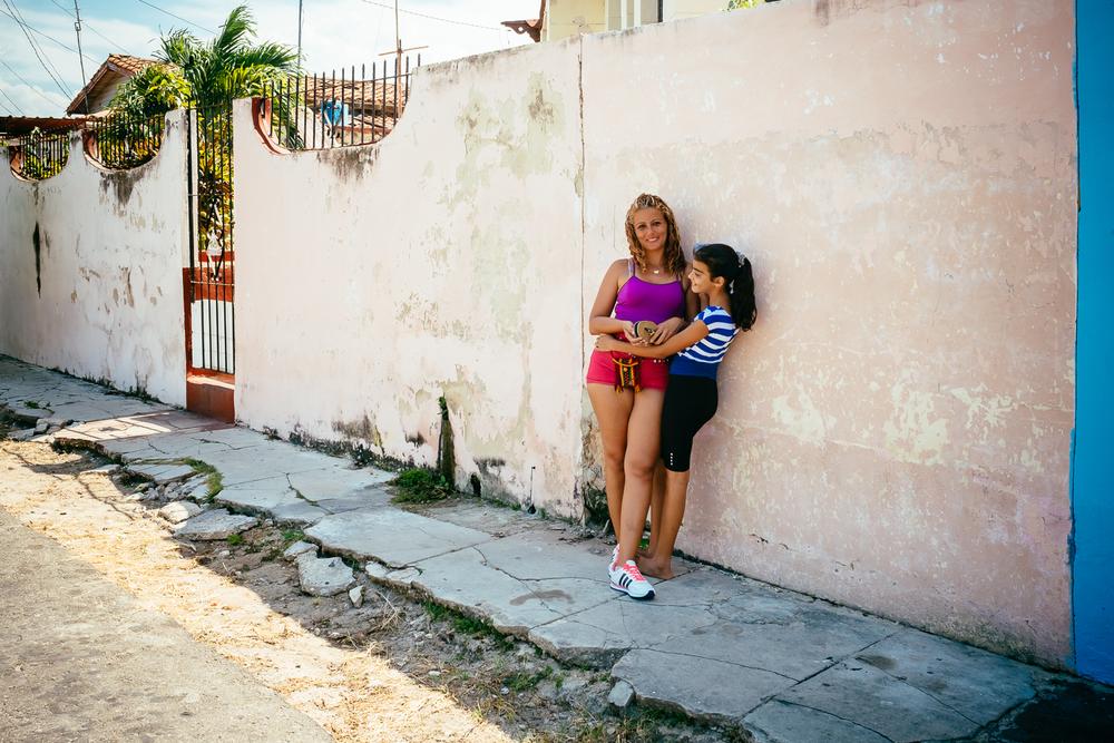 Street Portrait of two Cuban girls in Varadero, Cuba 2015.