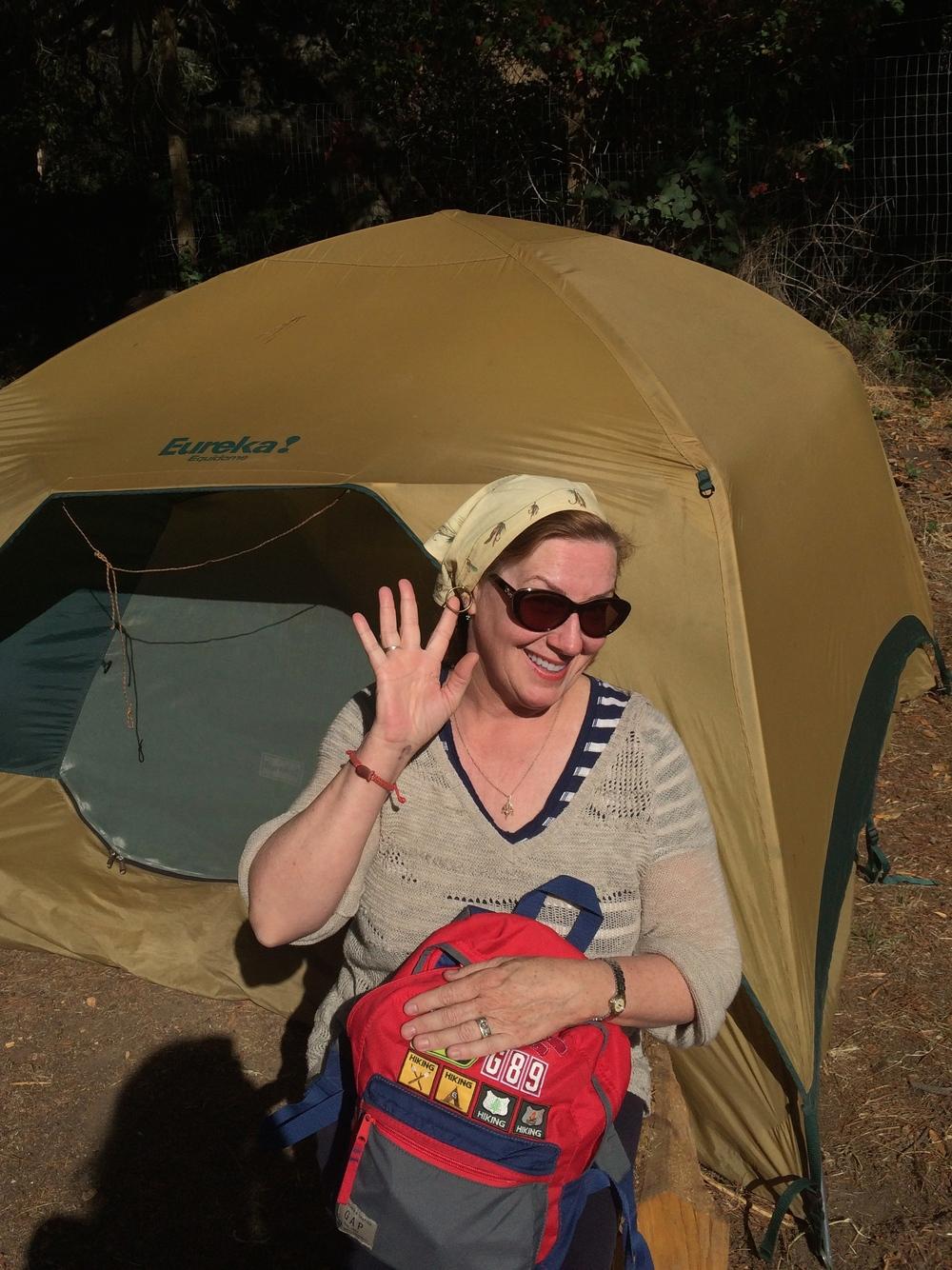 Ma wearing her special kiche kamping kerchief komplete with built-in hoop earrings. That woman.