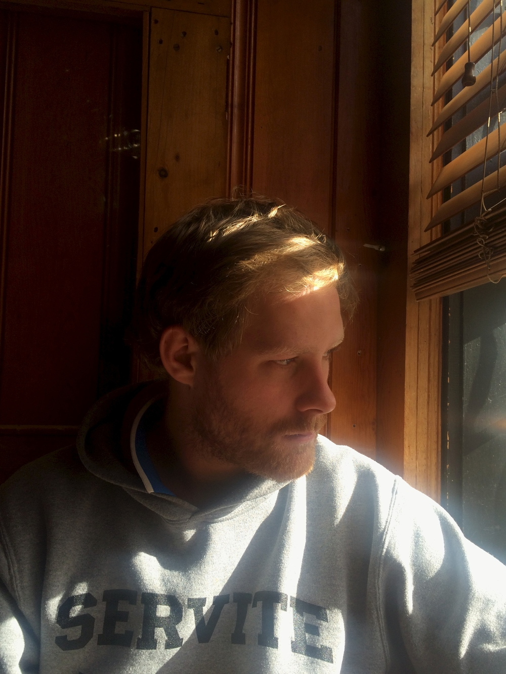 This picture makes Franz look like he's balding (sorry Bro!), but I like how the blinds look.
