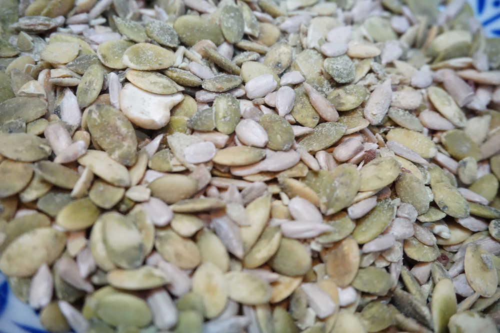 Pumpkin seeds are a great source of magnesium, which is very important for proper muscle and nerve function. And let's face it, our muscles and nerves do some serious work while dancing and running around for hours on end. Plus, they are delicious. I tried using salted instead of raw in this recipe (yes, I was in an experimental mood this day), but again, the original recipe is better. I suggest unsalted.