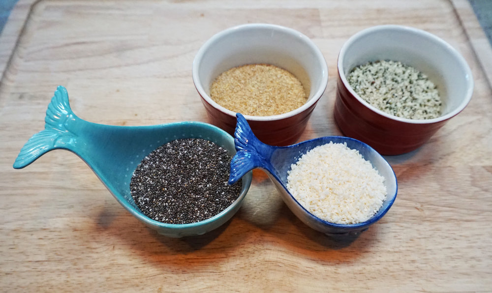 Both chia seeds and flax seeds are high in fiber, vitamins, and minerals. They will help keep the digestive juices flowing while your body extracts all of the beneficial proteins that the other ingredients provide. Coconut flakes are just plain delicious.