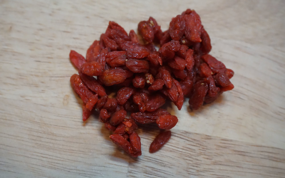 Goji berries are one of my all time favorite snacks. A single 4 oz serving contains about 10% of your daily protein needs, which is considerably high for a fruit. They also provide complex carbohydrates, helping your blood sugar to rise slowly, reducing your risk for a sugar crash.