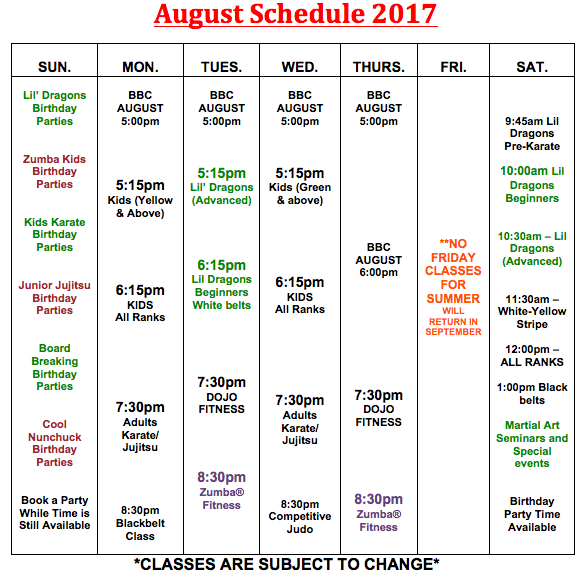 Schedule will remain the following until September 2017