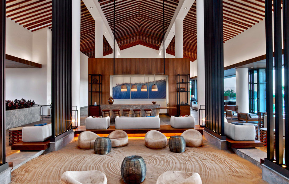 A truly zen lobby space with a sand floor.