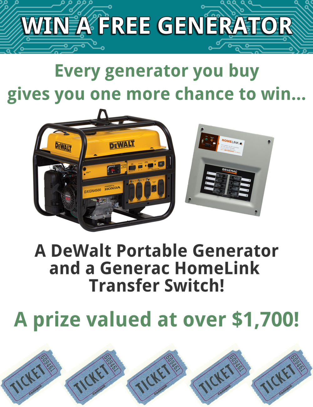 win a free portable generator and generac home link transfer switch raffle