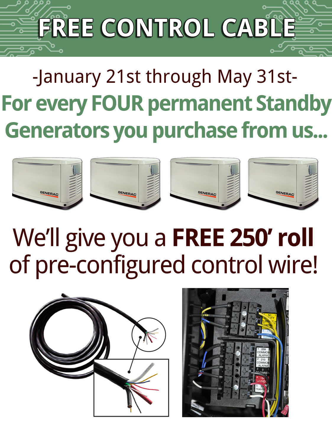 Speed up your generator installs and increase your profits with these  pre-configured control wires. — Wholesale Backup Generators for Dealers |  Rochester, NY | Better Power, Inc.Better Power, Inc.