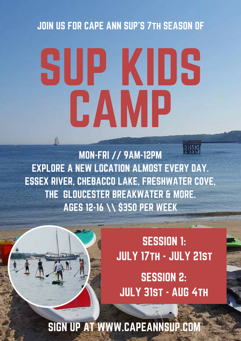 Paddleboard Kids Camp 2017 near Boston MA