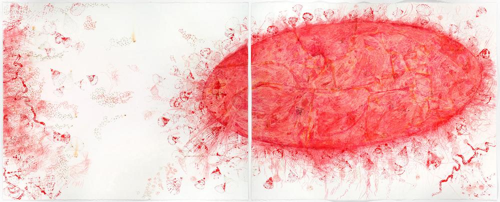Vermilion Diptych, 2014