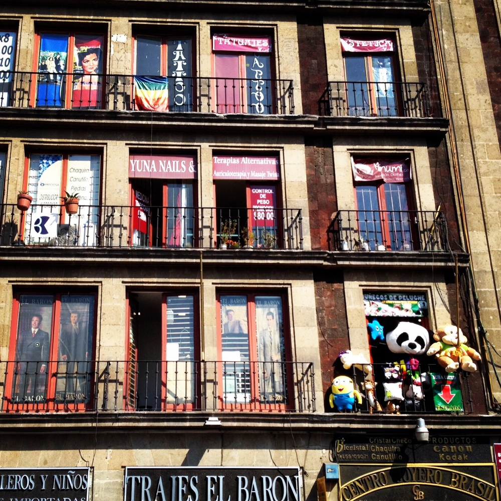 Facade in the historic center of Mexico City.