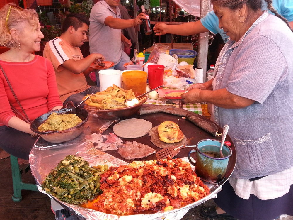 More food on the street, grandmother-style.