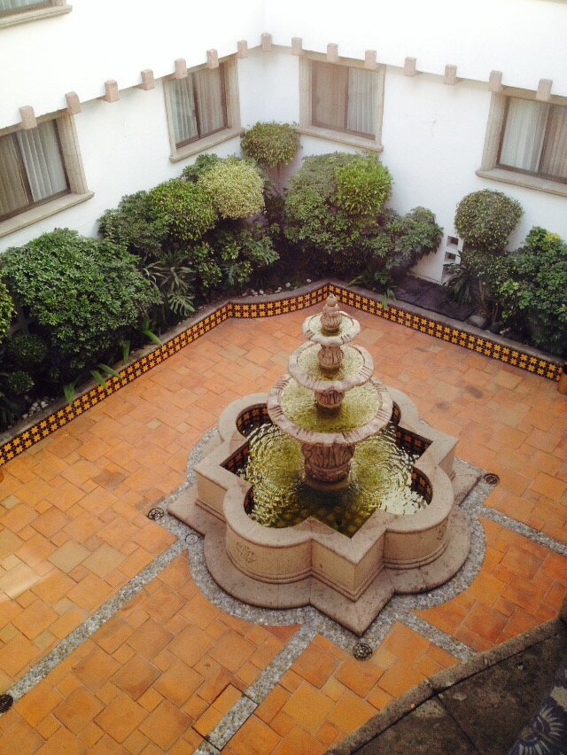 Hotel courtyard. Kind of a Sorrento Hotel-like place, but VERY affordable.