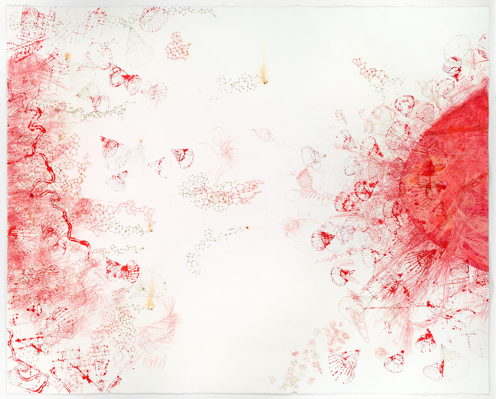 "Vermilion Diptych, left panel, 2014. Chine-collé, pigment transfer, burned holes, stenciled watercolor on paper, 38"" x 100.75""."