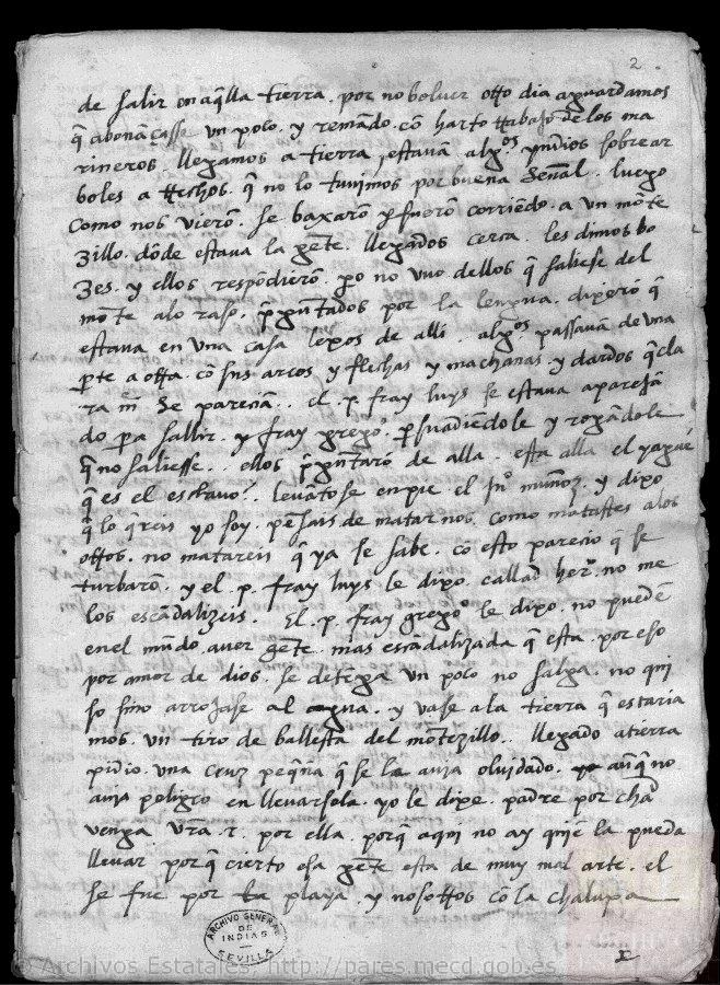 AGI, Patronato 19, R.4. The 1549 mission journal of Fray Luis Cáncer and Fray Gregorio Beteta.