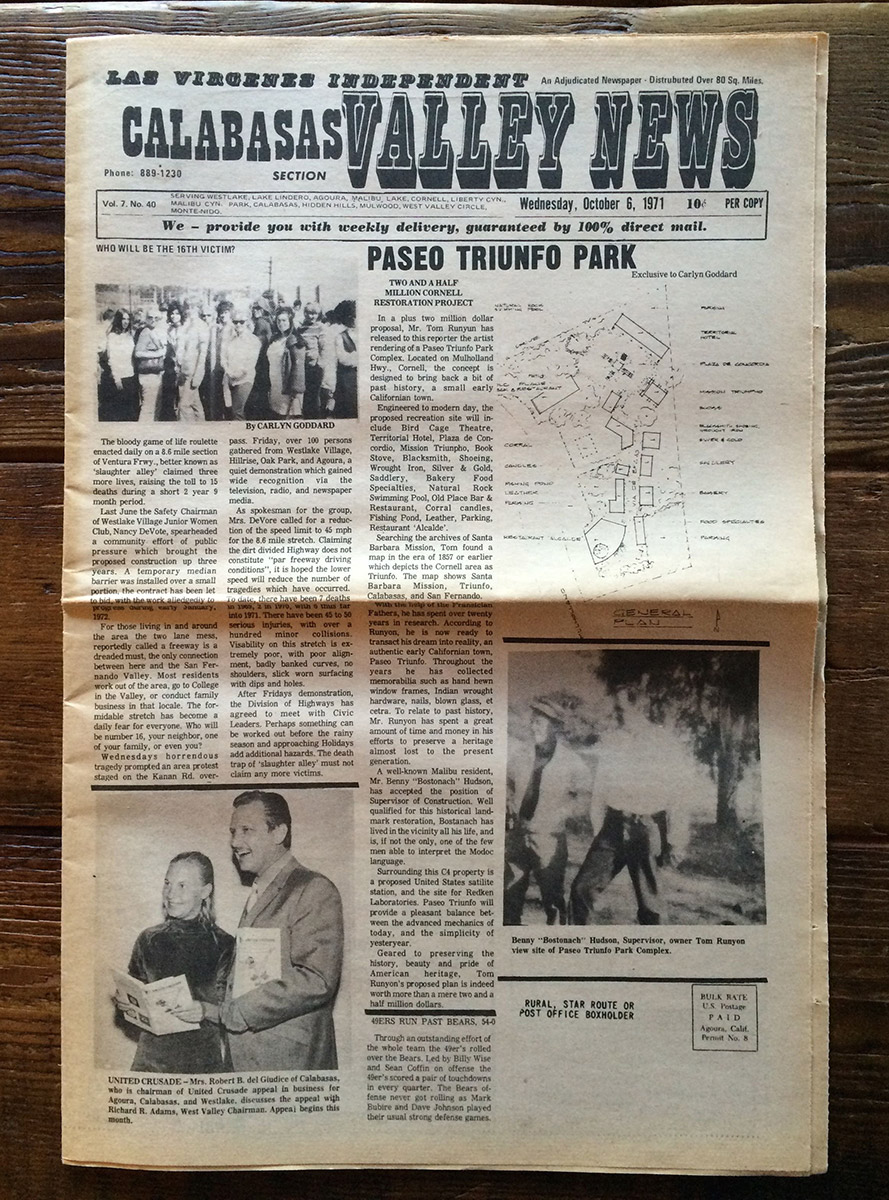 CALABASAS VALLEY NEWS, OCT. 1971