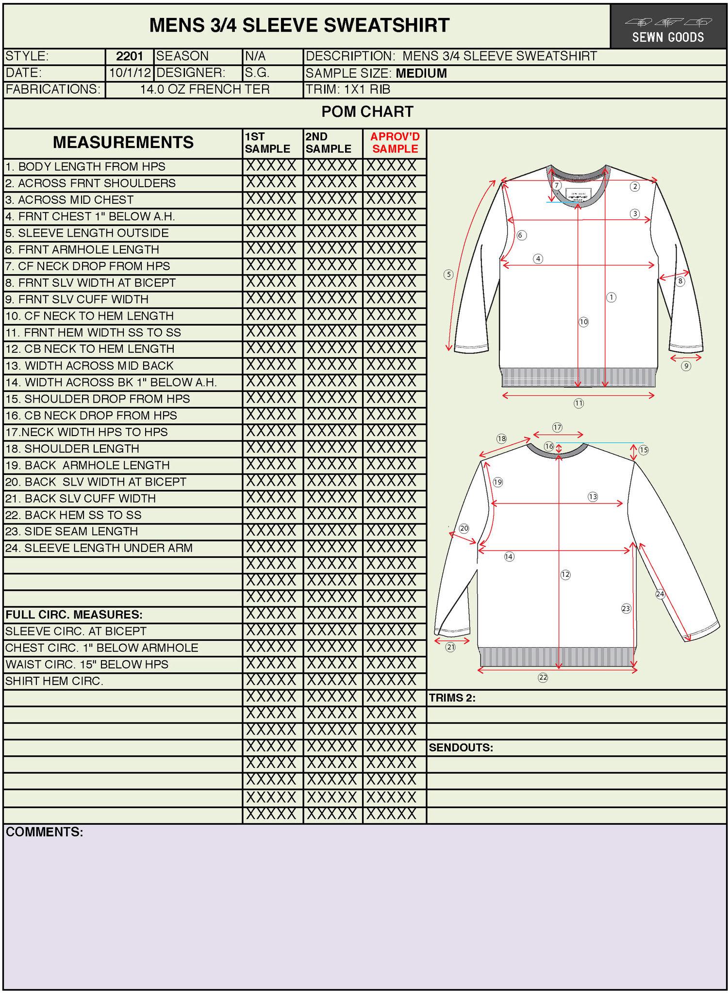 2206 Raglan Sleeve Sweatshirt Tech Pack Template Xs 4xl Sewn Goods Pattern Makers Sample Makers Apparel Design And Development