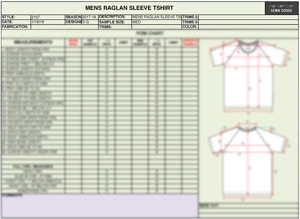 Tech Pack Template | 2107 Raglan T Shirt Tech Pack Template Xs 4xl Sewn Goods Pattern