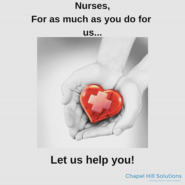 Check out our website today for numerous opportunities. We do the work, all you have to do is show up. www.chapelhillsolutions.com . . . #nurses #job #newjob #recruiting #healthcarejobs #nurselife #nurse #helpwanted #newopportunities #opportunity #hospital