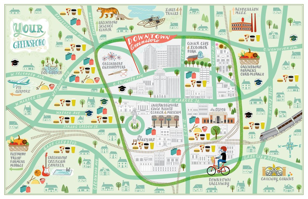 Map of Greensboro NC kat lamp