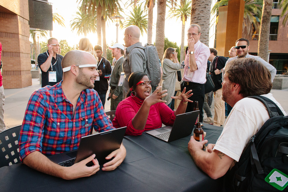 Attendees at the 2013 Top Contributors Summit tried out Glass during an evening reception.