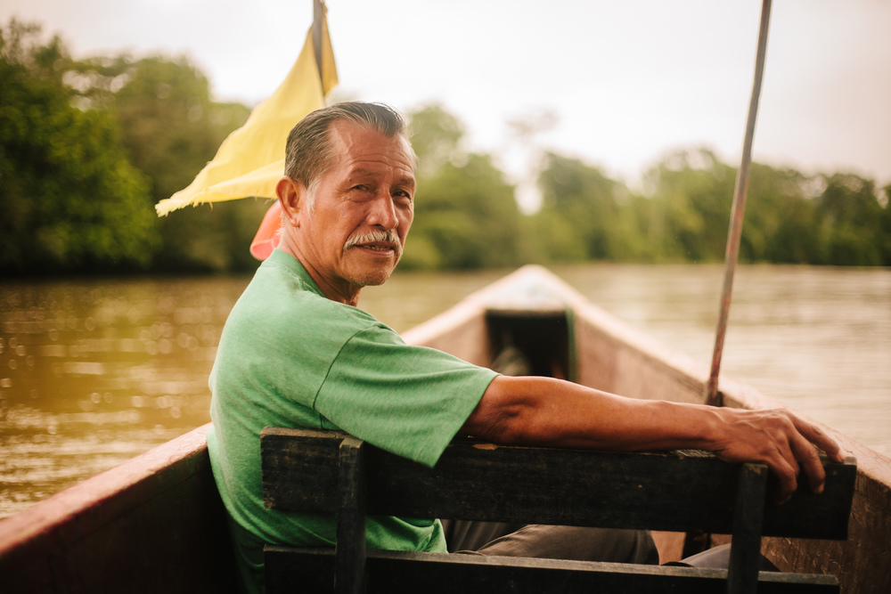 Traveling by boat in the Amazon basin of Ecuador.