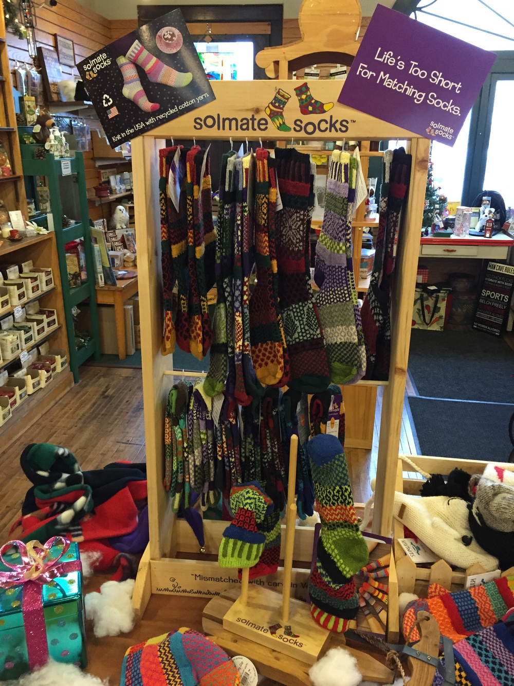 One of the ways our store is unique is we search for the most unique roducts made in the USA. Soulmate socks are desined, knit, and made with recycled material. Come in to shop local and support products made in the U.S.A.!