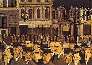 Melbourne street scene by John Brack, 1955