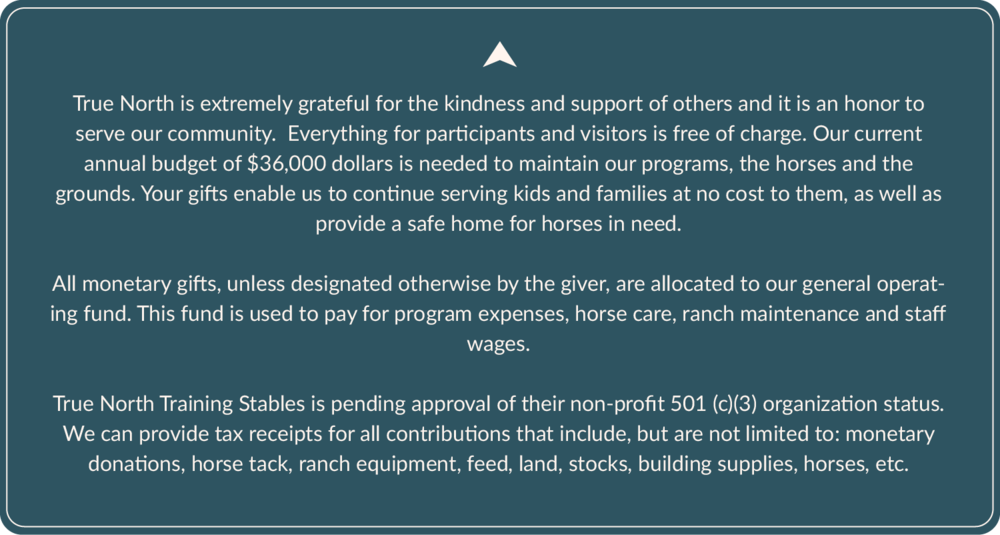 As OF JULY 2014, TRUE NORTH TRAINING STABLES IS AN APPROVED 501 (C)(3). OUR TAX INFORMATION NUMBER IS 47-1517748