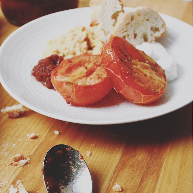 Adding roasted tomatoes, hummus and harissa makes toast a real dinner, right?