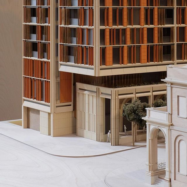 """More images to come... Here's a detail of FJMT's King + Phillip Residences. From FJMT's website, """"Honouring the tradition of its timeless architectural surroundings."""" @fjmtstudio  #kingandphillip #fjmt #fjmtstudio #australianarchitecture #sydneyarchitecture #colonial #heritage #modelmakers #modelmaking #arhitecturalmodel #architecturelovers #sandstone #louvres #lasercut #3dprinting #rhinoceros3d #belton #kinkstudio #madeinmarrickville #moretocome"""