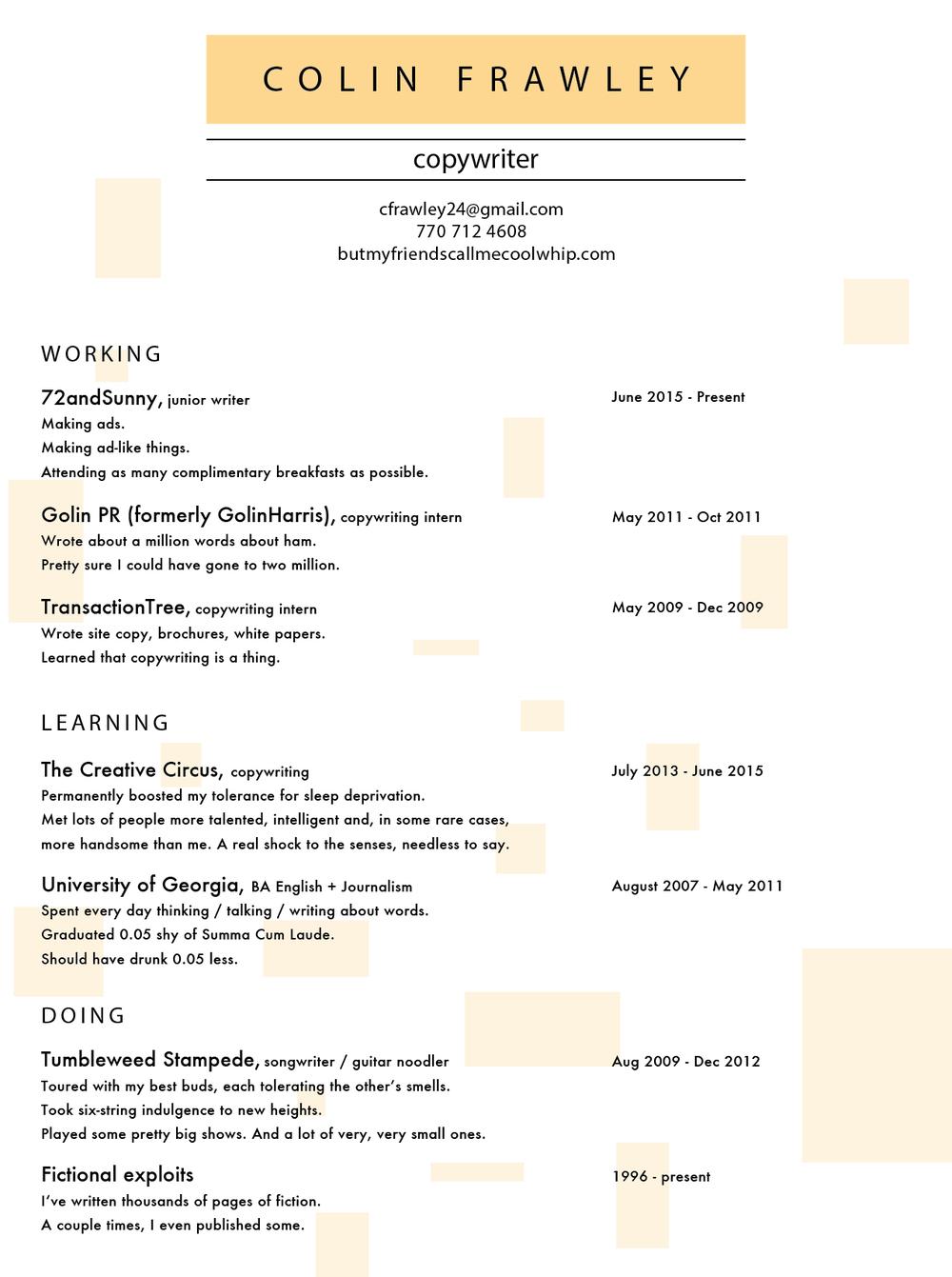 Sample ad copywriter resume
