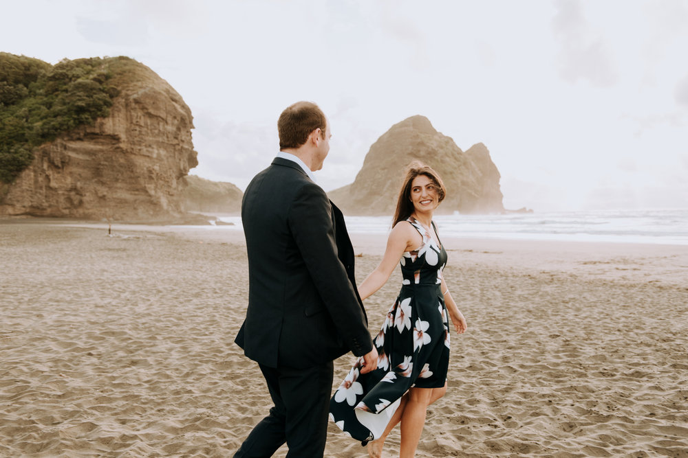Auckland, New Zealand destination elopement on the beach.