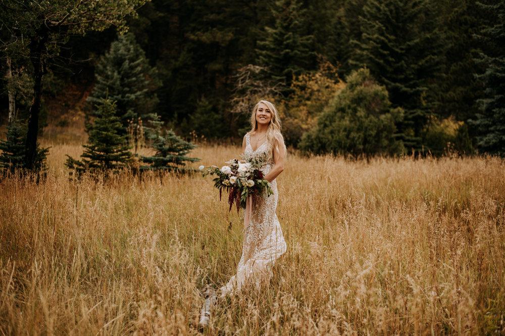 Beautiful boho bride for a small ceremony in Colorado.