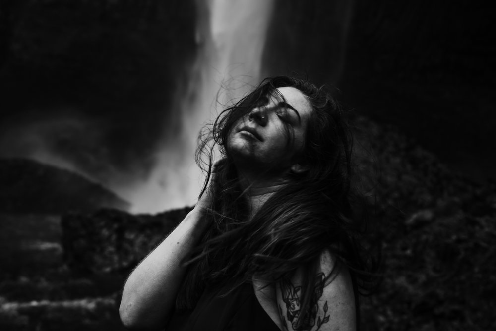 I love this black and white portrait in front of Latourell Falls.
