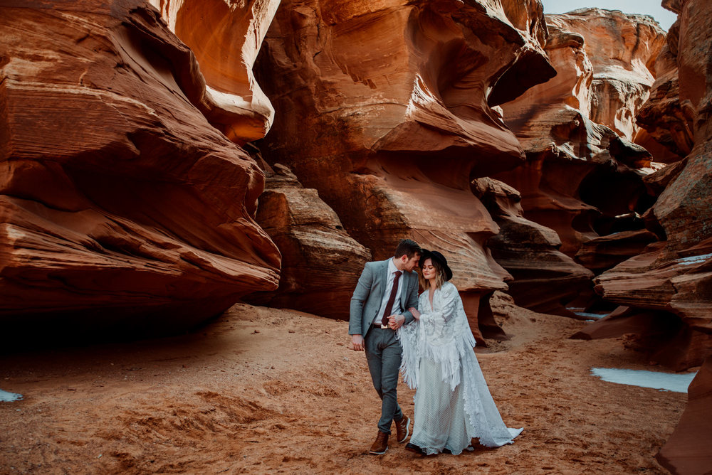 This is a touching moment between a bride and groom at this small wedding Arizona