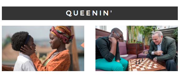 (right)Lupita Nyong'o and new talent Madina Nalwanga in The Queen of Katwe. (left) Author Tim Crother with Phiona Mutesi.