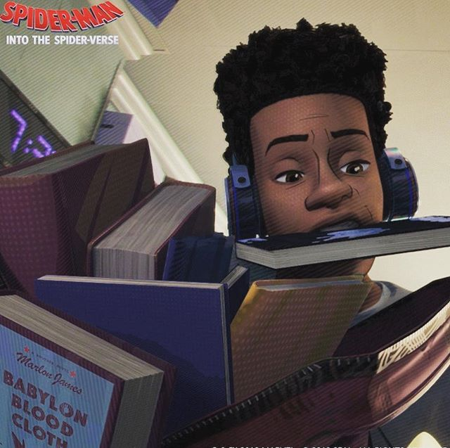 Did y'all catch the Easter egg in #IntotheSpiderverse?? Love the fictional book from @marlonjameswriter! How many of you are excited for his new book, #BlackLeopardRedWolf?
