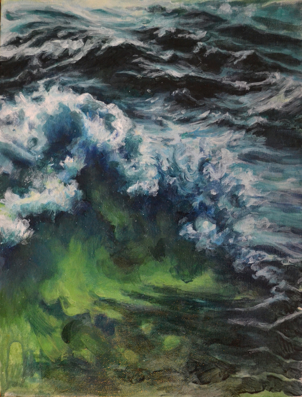 Wave #1  2014 12x16 acrylic on canvas