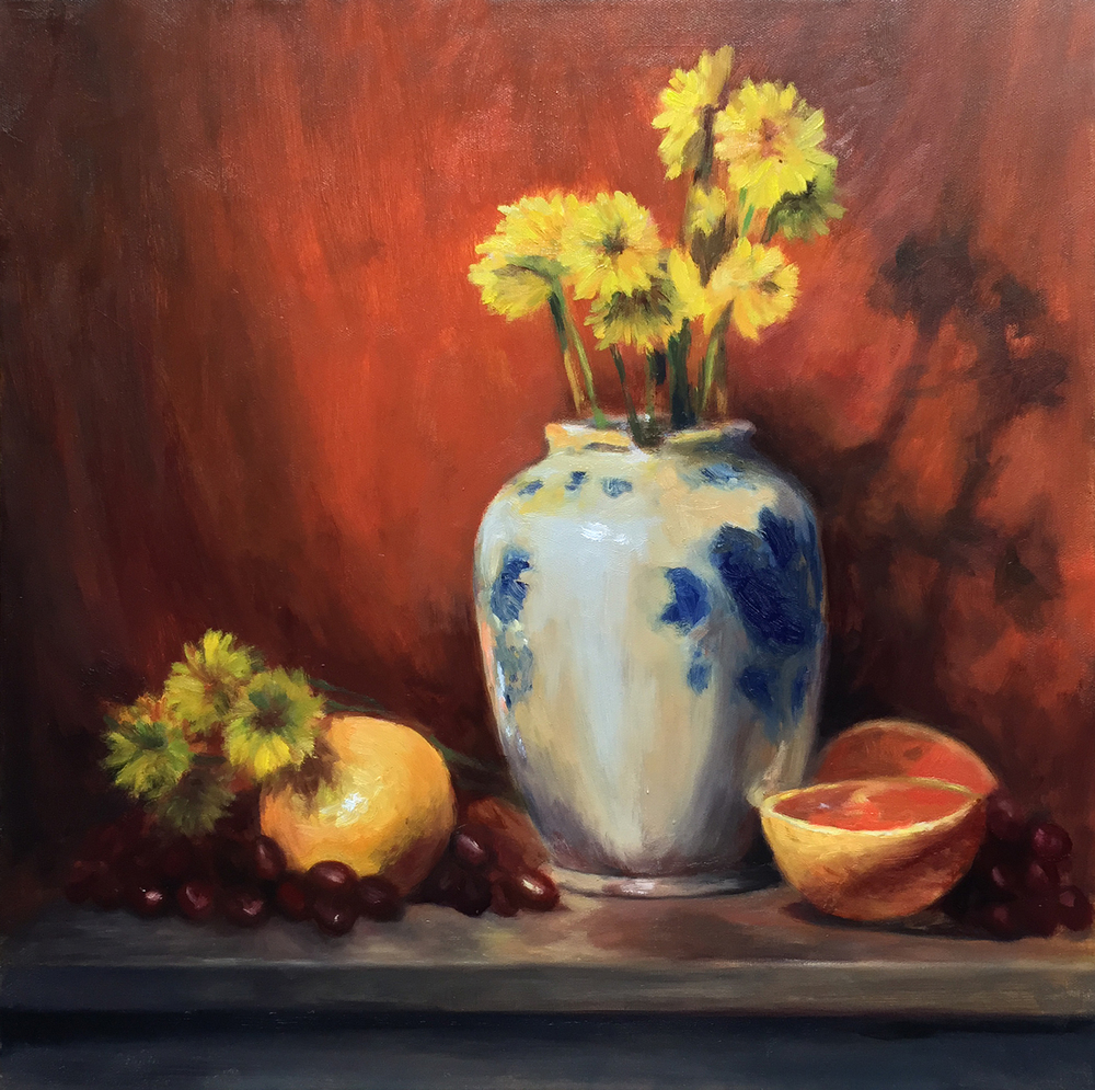 Still Life with Grapefruits and Flowers  2015 20x24 oil on canvas